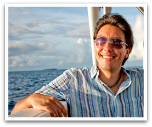 Smiling man on boat